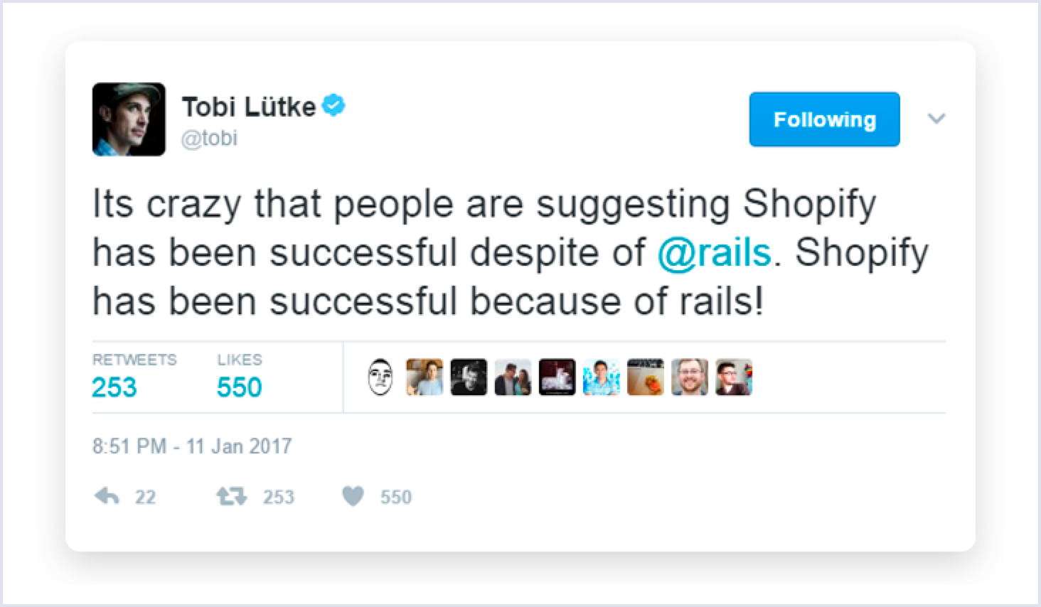 Tobi Lutke quote - Shopify using Ruby on Rails | Codica
