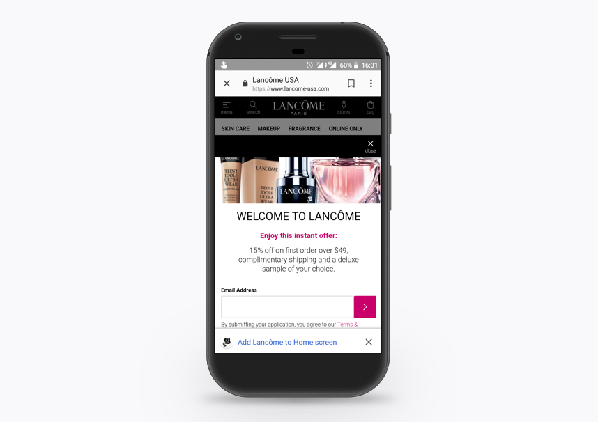 Lancome progressive web app (PWA) - install to home screen message | Codica