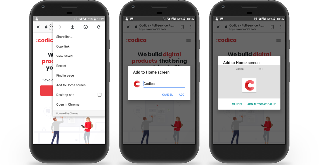 Codica progressive web app (PWA) - installation to home screen | Codica