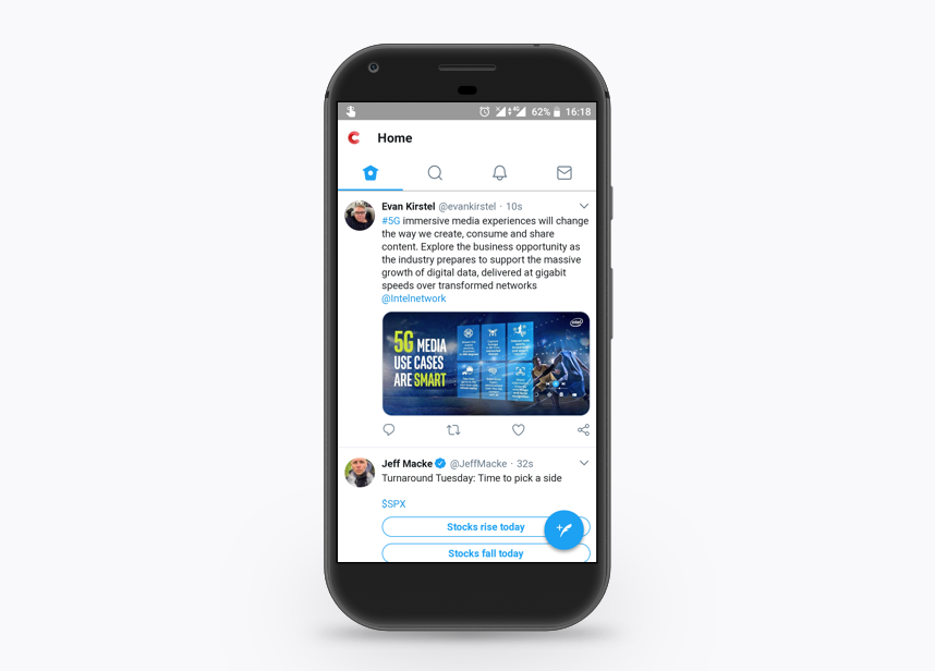 Screenshot of Twitter PWA (progressive web app) on mobile phone | Codica