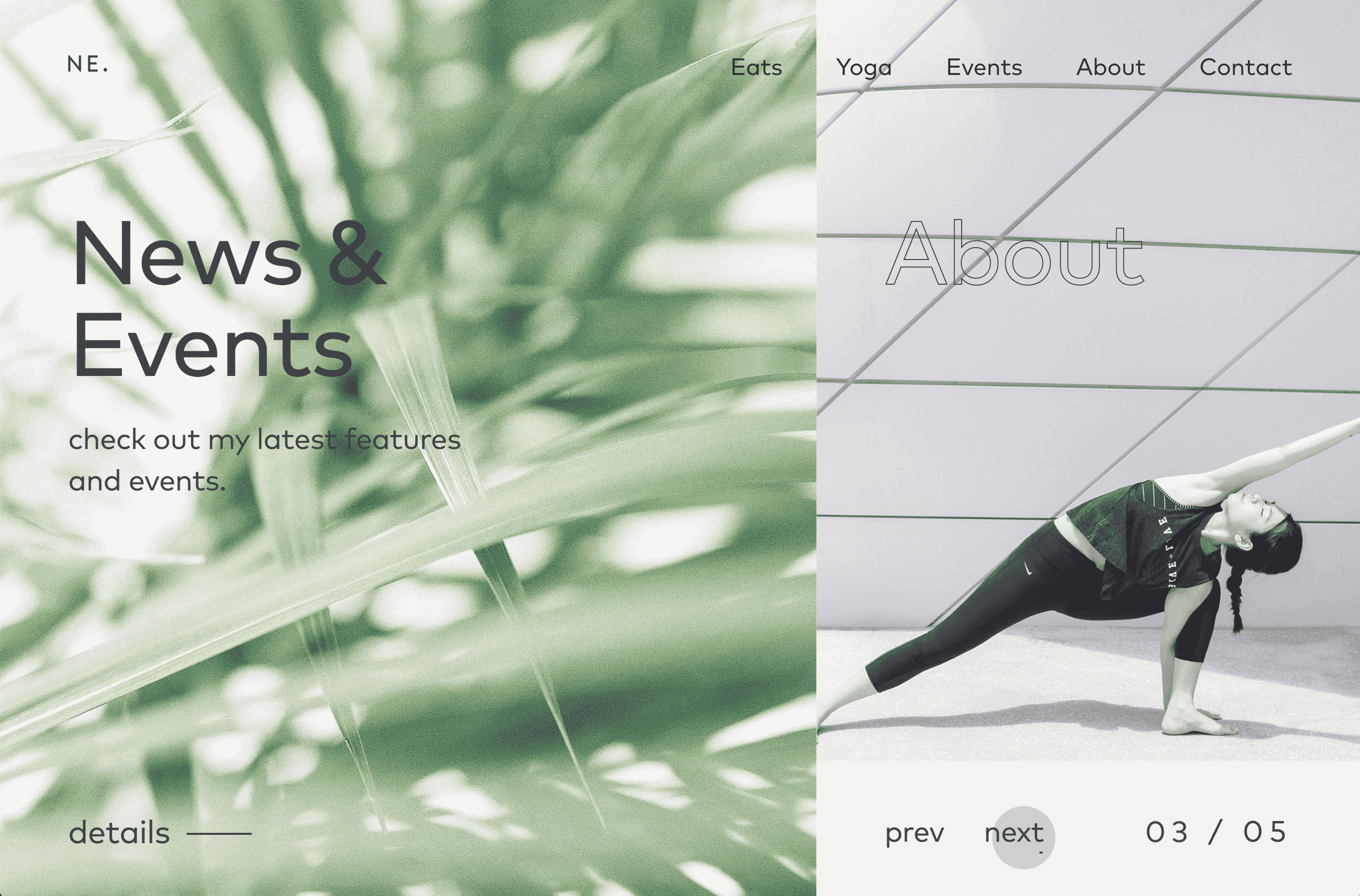 Hot web design trends: Overlapping elements by NourishEats | Codica