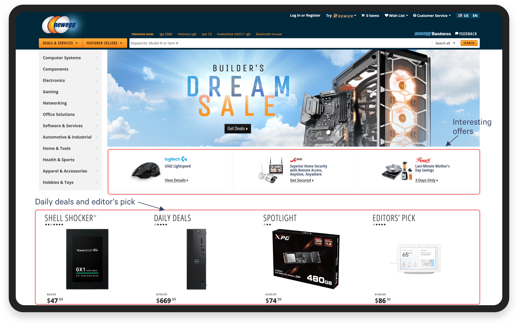 Marketplace UX: Make your marketplace idea clear. Newegg homepage screenshot | Codica